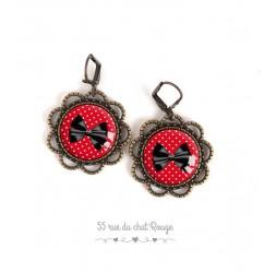 Boucles d'oreilles, rondes, Noeud papillon noir, rouge à petits pois blanc, bijoux pour femme, bronze