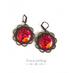 Earrings, round, Tree of Life, tan, fuchsia and orange, jewelery for women, bronze