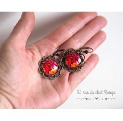 Orecchini, rotondo, albero della vita, marrone chiaro, fucsia e arancio, gioielli per le donne, bronzo