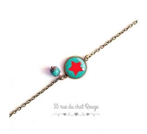 bracelet chaîne fine étoile rouge
