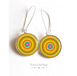 Pendientes, Mandala, Solar, 23 patrones para elegir, resina epoxi, plata