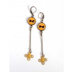 orecchini lunghi, fiocco nero e giallo farfalla, bronzo, gioielli della donna