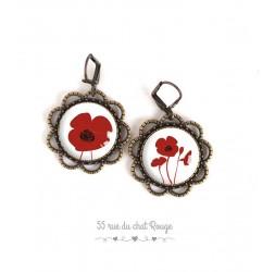 Orecchini cabochon, papaveri rossi, in bronzo, gioielli della donna