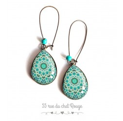 Cabochon drop earrings, blue and turquoise mandala pastel blue, bronze, woman's jewelry