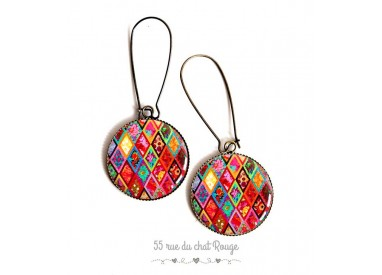 Earrings, multicolor diamonds, colored cabochon epoxy resin, bronze, woman's jewelry
