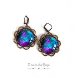 Boucles d'oreilles cabochon, constellation bleutée, galaxie, étoiles, univers, bronze, bijoux pour femme
