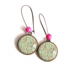 Earrings cabochon, small wild flowers, pastel green and fuchsia, bronze, woman's jewelry