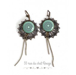 Pierced ears for long, mind Morocco, soft blue rose, bronze, woman's jewelry