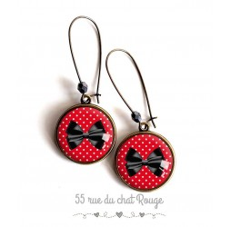 Earrings, Bow Tie, black and red, bronze, woman's jewelry