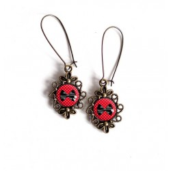 Earrings, Bow Tie, black and red, retro, bronze, woman's jewelry