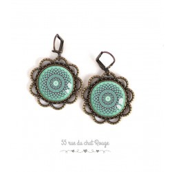 Earrings, round, Morocco spirit, soft blue rose, bronze, woman's jewelry
