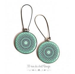Boucles d'oreilles, esprit Maroc, rosace bleu tendre, résine époxy, bronze, bijoux pour femme