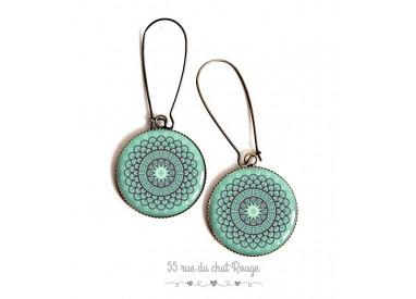 Earrings, Morocco spirit, soft blue rosette, epoxy resin, bronze, woman's jewelry