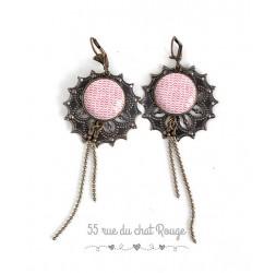Pierced ears for long, pink and white ripple, géométriqe shape, bronze, woman's jewelry