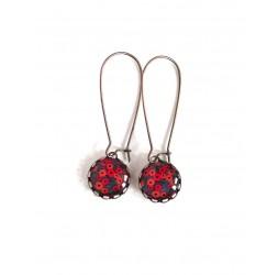 Boucles d'oreilles, petits cabochons, coquelicots rouge, bronze, bijoux pour femme