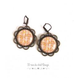 Earrings, round, herringbone designs, colors orange, bronze, woman's jewelry