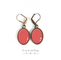 Earrings oval ears, small red and white polka dots, polka dots, bronze, woman's jewelry