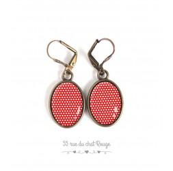 Orecchini orecchie ovali, piccoli pois rossi e bianchi, pois, in bronzo, gioielli della donna