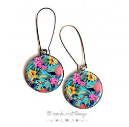 Earrings, flerus exotic, tropical summer, epoxy resin, bronze, gift for woman