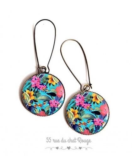 Earrings, flerus exotic, tropical summer, epoxy resin, bronze, gift for woman