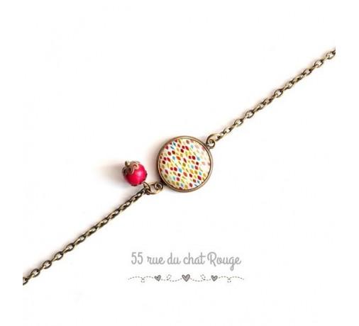 bracelet chaine fine chevrons multicouleur