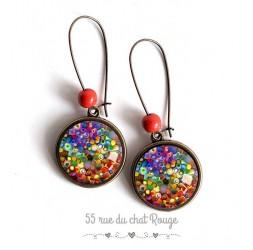 Earrings, fire artificice colorful, summer, bronze, woman's jewelry