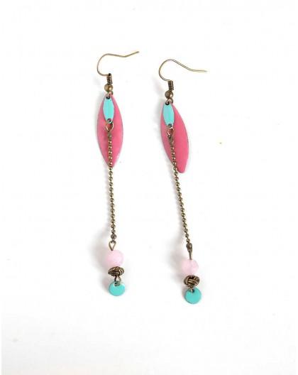 orejas perforadas para largo de color rosa, polvo, lentejuelas esmalte de color rosa, bronce, joyería de la mujer