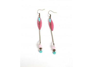 Pierced ears for long, powder pink, sequin pink enamel, bronze, woman's jewelry