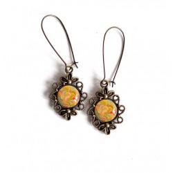 Earrings, Japanese waves, yellow orange tones, retro style, bronze, woman's jewelry