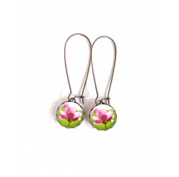 Earrings, small studs, Water Lily, Zen Flower, pink and green, bronze, woman's jewelry
