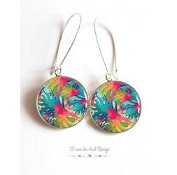 Boucles d'oreilles, motif exotique, tropical, feuille palmier, colorées, argentée, bijoux pour femme