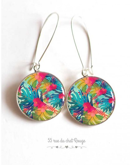 Earrings, exotic pattern, tropical, palm leaf, colored, silver, woman's jewelry