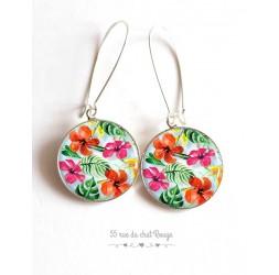 Boucles d'oreilles, motif exotique, fleur d'hibiscus, colorées, argentée, bijoux pour femme