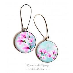 Boucles d'oreilles, orchidée rose, bleu pastel, romantique, bronze, bijoux pour femme