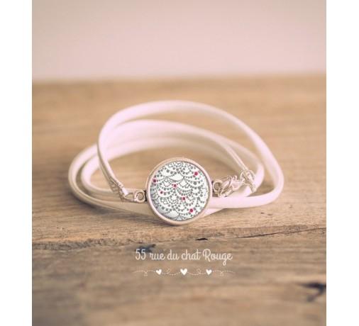 bracelet double tour esprit Japon blanc et rouge