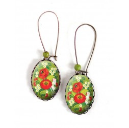 Earrings, oval, red flowers and green, 18x25 mm, bronze, woman's jewelry