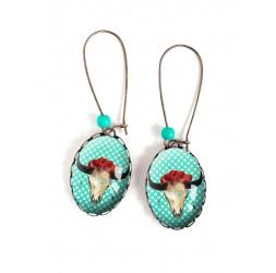 Boucles d'oreilles, ovales, Boho, crâne de boeuf, roses rouge, bleu, polka dots ,18x25 mm, bronze, bijoux pour femme