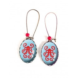 Boucles d'oreilles, ovales, pieuvre rouge, et bleu ,18x25 mm, bronze, bijoux pour femme