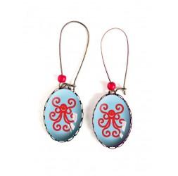 Pendientes, ovales, pulpo de color rojo y azul, 18x25 mm, bronce, joyería de la mujer