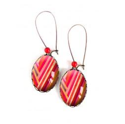 Boucles d'oreilles, ovales, motif géométrique, ligne rouge orange rose ,18x25 mm, bronze, bijoux pour femme
