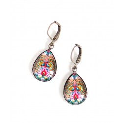 Earrings, small drops, bird, peacock, colorful, bronze, woman's jewelry