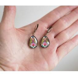 Boucles d'oreilles, petites gouttes, oiseau, paon, colorées, bronze, bijoux pour femme