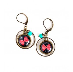 Earrings, butterfly knot red, and black, bronze, woman's jewelry
