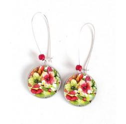 Boucles d'oreilles, fleurs exotiques, hibiscus, rouge et vert, argentée, bijoux pour femme