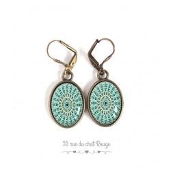 Boucles d'oreilles, ovale, mandala bleu turquoise, bronze, bijoux pour femme