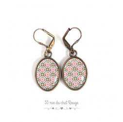 Earrings, Oval, Moroccan pattern, pink and light green, bronze, woman's jewelry