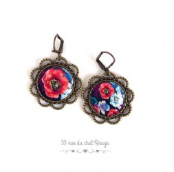 Earrings, round, red flowers and blue poppies, bronze, woman's jewelry