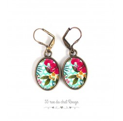 Orecchini, ovali, Esotico Motivo floreale, tropicale, bronzo, gioielli della donna