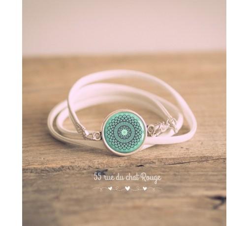 bracelet double tour blanc esprit maroc