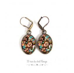 Boucles d'oreilles, pendants, inspiration Bouddha, oeil de tigre, argentée, bijoux pour femme